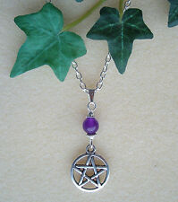 "Pentagram and Amethyst Bead Pendant 20"" Chain Necklace - Wicca Pagan Witch"