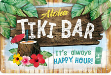 """tiki bar it 's Always Happy Hour ""vintage 50s tôle bouclier 20 x 30 rockabilly"