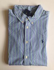 NWT Boys Polo Ralph Lauren Blue Striped Long Sleeve Button Down Shirt L 14-16