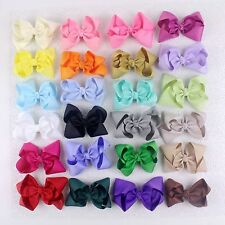 """Instock 24pcs 4"""" Girl Baby toddler kids solid Boutique Hair Bows Clips 401B"""