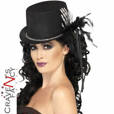 Black Top Hat with Skeleton Hand Ladies Halloween Fancy Dress Costume Accessory