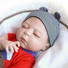 Full Body Silicone Reborn Sleeping Boy Doll Soft Vinyl Lifelike Newborn Baby 22""