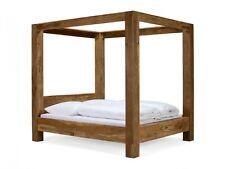 lit baldaquin 180x200 cm bois de palissandre cir finition teck chambre stark - Lit Adulte A Baldaquin En Bois Massif