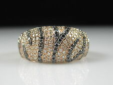 Black White Diamond Band Dome Ring 14K Rose Gold 1.25cttw ZEBRA Cluster Size 8.5