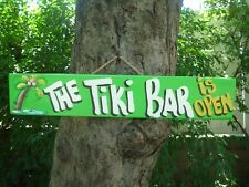 THE TIKI HUT IS OPEN - TROPICAL PARROTHEAD POOL PATIO BOAT BAR SIGN PLAQUE