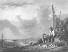 TWO BOYS FISHING FISH CATCH by SEA SHORE BEACH, Antique 1855 Art Print Engraving