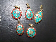 Tibetan Hexagonal Brass Turquoise Red Coral Carved Buddha Eye Amulet Pendant
