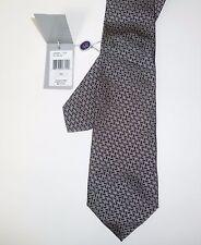 $215 RALPH LAUREN Purple Label Zigzag Silk Necktie Silver Grey Black Tie NWT