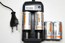 CHARGEUR RS08 + 4 BATTERIE PILE C R14 LR14 9500mAh RECHARGEABLE 1.2V Ni-MH ACCU