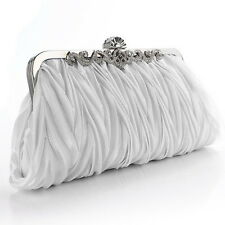 Women Satin Crystal Clutch Party Wedding Purse Evening Bag Handbag Chain 3#