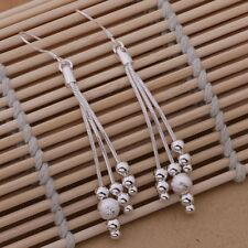 Ladies 925 Sterling Silver 3 Stand Chain Textured Bead  Drop Dangle Earrings