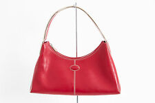TODS Red Smooth Leather Shell Zip Top Minimal Classic Stitch Shoulder Bag Purse
