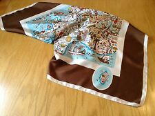 RARE QUIRKY HUMOROUS VINTAGE SILK SCARF BY JEAN EFFEL.  LA BELLE FRANCE!  VGC.