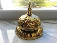 "Solid Brass Bell ""Call For Service"" Counter, Front Desk, General Store Bell"