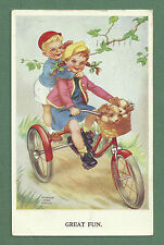 1959 GLADYS ANN COUCH PC BOY & GIRL ON TRICYCLE WITH PUPPIES IN BASKET