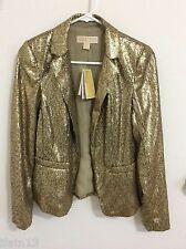**RARE** NWT MICHAEL KORS Antique Brass Fitted Gold Blazer Jacket Sz 2(S)