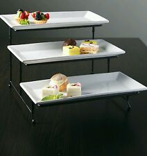 3-Tier Rectangular Serving Platter Cake Tray Stand Display Plate Rack