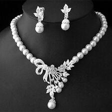 Schmuckset Collier Halskette Ohrringe Strass Silber Party Schmuck Braut Hochzeit