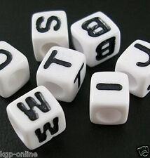 ca 250 weiße Buchstabenwürfel 7 x 7 mm Buchstabenperlen Buchstaben Perlen Würfel