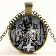 Vintage Justin Bieber Photo Cabochon Glass Bronze Chain Pendant Necklace