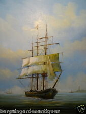 Nautical Scene Oil Canvas Painting Sailing Tall Ship Lighthouse Harbour Signed