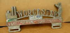 Rare Worchester Massuchusetts Mass FOOTBALL  Aluminum License Plate Topper