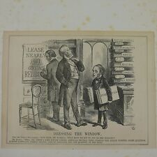 """7x10"""" punch cartoon 1864 DRESSING THE WINDOW palmerston russell / textiles"""
