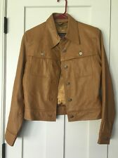 Caramel Brown Genuine Leather Women's Jacket Small Button Front Unique Boho Chic