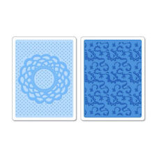 Sizzix Textured Impressions Embossing Folders 2PK DOILY & LACE Set 658516 New