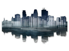 Minneapolis Reflection Contemporary City Painting on Metal Wall Art by Ash Carl