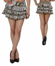 Green Camouflage Mini Cotton Tiers Skirt w/ attached belt & lace. Med & Lg & XL.