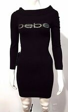 BEBE CINCH WAIST FOLDOVER SWEATER THICK DRESS RHINESTONE LOGO BLack LARGE $129
