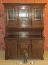 Ethan Allen Oak China Cabinet Royal Charter Collection Leaded Glass 16 6007