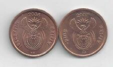 2 DIFFERENT 5 CENT COINS from SOUTH AFRICA (2007 & 2008)