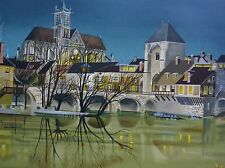Jean-Luc Lecoindre at the riverside HAND SIGNED ORIGINAL LIMED LITHOGRAPH French