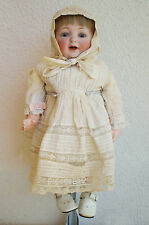 "Antique JDK Kestner 6 GERMANY Bisque DOLL 16"" Leather Body Sleep Eyes Clothing"
