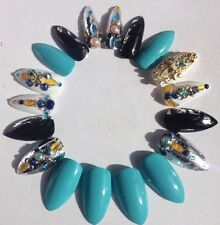 Hand painted False Nails Turquoise Black Silver Gold Art Stiletto Full Cover Tip