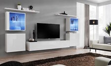 """Shift 14 White contemporary wall units up to 90"""" TV /Modern Entertainment Center"""