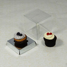 25 x 7cm Clear Mini Cupcake Boxes /Party Favour Boxes with silver Insert
