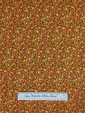 Harvest Fall Autumn Fabric - Small Green Brown Leaf Toss on Rust Cotton YARDS