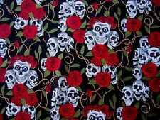 Skull & Roses Black & Red Cotton Fabric Material Goth Rock Halloween by Metre