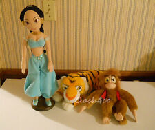"Disney Large Princess Jasmine doll plush 20"" & Rajah Tiger, Abu Monkey Lot of 3"