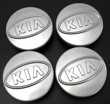 4 x 59mm - 60mm ALLOY WHEEL HUB CENTER CAPS KIA GREY LOGO SET OF FOUR BADGE