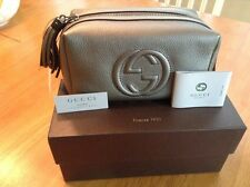 Gucci Soho Leather Cosmetic Case Color Gunmetal  Small