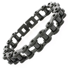 Stainless Steel Mens Jet Black Bicycle Bike Chain Link Bangle Bracelet 8.5""