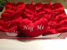 "NWT Red Heart Shaped Plush Pillow Ornaments HUG ME 8"" (Lot of 15) & LOVE (16)"