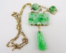 "Antique 16"" 14k Carved Apple Green and Mutton Fat Jade Lavalier Necklace"