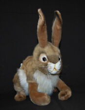 Lifelike Black Tail Jack Rabbit Poseable New Brown White Plush Hansa Toy 14""