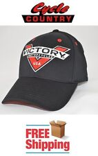 VICTORY MOTORCYCLE BADGE HAT CAP BLACK VENTED HIGH-BALL 8-BALL JACKPOT JUDGE NEW