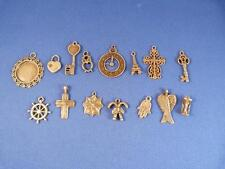 Mixed Charms Antique Bronze Plated Alloy Jewellery Findings Pack of 15.